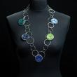 Halskette mehrfarbig in Blau-/Grüntönen, Elemente beweglich