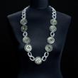 Halskette einfarbig oliv mit doppelten Kettengliedern