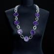 Halskette einfarbig lila mit doppelten Kettengliedern
