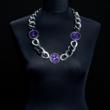Halskette lila, Kettenglieder zweifarbig silber/schwarz