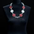 Halskette zweifarbig rot/weiß